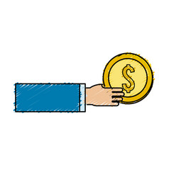 Gold coins money in the hand vector