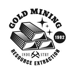 gold ingots round emblem for mining company vector image