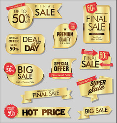 golden sale banners and special offer tags vector image