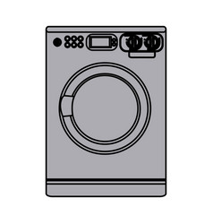 Grayscale silhouette with washing machine vector