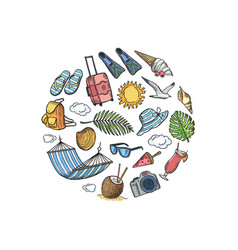 Hand drawn summer travel elements in circle vector