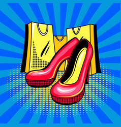 high heeled woman shoes pop art vector image