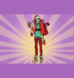 hipster santa claus with a cup of coffee vector image