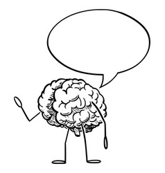 Human brain cartoon character with speech bubble vector