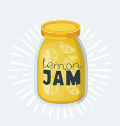 jam jars lemons oranges currants and cherries vector image