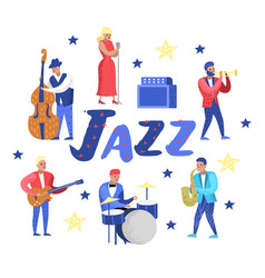 Jazz music characters set musical instruments vector