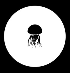 Jellyfish from ocean simple silhouette black icon vector