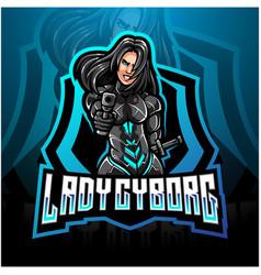 Lady cyborg esport mascot logo design vector
