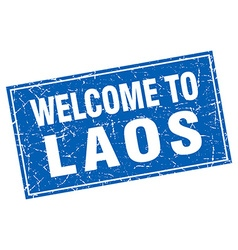 Laos blue square grunge welcome to stamp vector