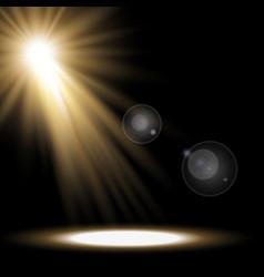Light circle with a spotlight golden color vector