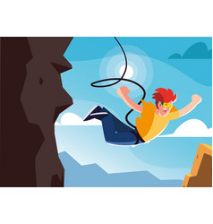 Man jumping off with a rope extreme sport vector