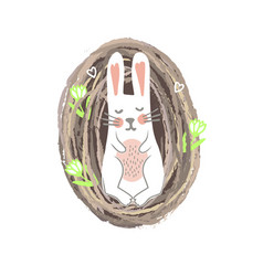 newbor easter bunny lying in th nest spring or vector image