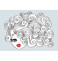 Nice girl with curly hair and red mouth illu vector