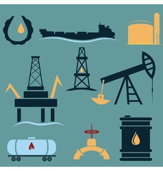 oil industry icons setflat design vector image