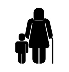 Old woman with boy figure silhouette vector