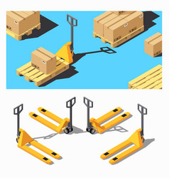 Pallet truck storage equipment isometric icon set vector