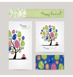 Postcards design with easter tree vector image