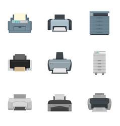 printer icon set flat style vector image