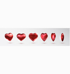 red hearts set metallic in different vector image