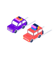 Retro cars ride with luggage in isometric style vector
