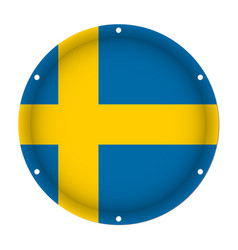 Round metallic flag of sweden with screw holes vector