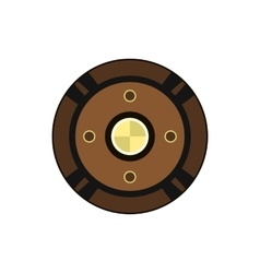 Round shield icon in flat style vector