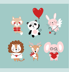 Set cute animals for valentine s day elephant vector