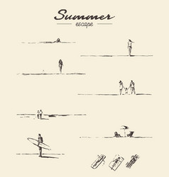 Set drawn seaside view people beach sketch vector