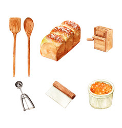 Set isolated watercolor bread scoop for vector