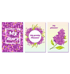 Set of floral covers for planners and diary vector