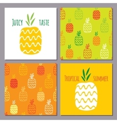 set of pineapples and two seamless patterns vector image