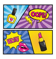 Set pop art comic with chat bubbles messages vector
