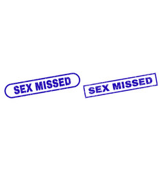 Sex missed blue rectangle seal with unclean style vector