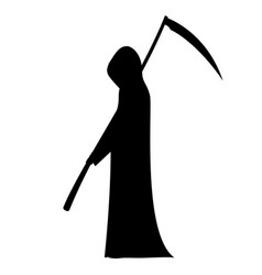 silhouette of a man with hood and scythe vector image