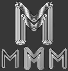 Silver line m logo design set vector image