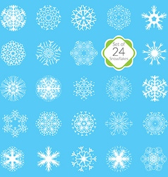 Snowflakes set various designs symmetrical snow vector