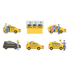 taxi service set taxi driver in yellow car and vector image