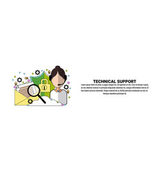technical support service concept horizontal web vector image