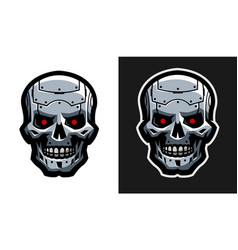 the metal skull of the robot two versions vector image