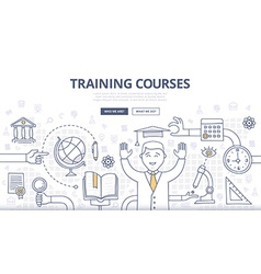 Training Courses and Education Doodle Concept vector image