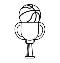 trophy ball basketball winner outline vector image
