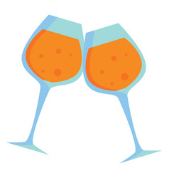 two clinking wine glasses or color vector image