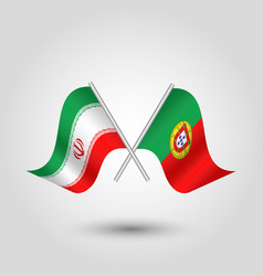 Two crossed iranian and portuguese flags vector