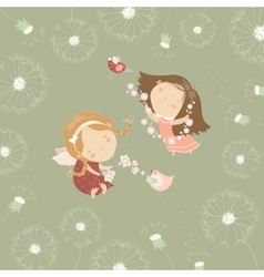 Two little angels with flowers vector image