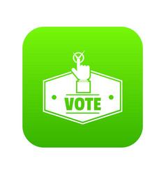 Vote icon green vector