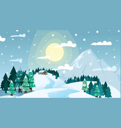 winter landscape house on snowy coniferous forest vector image
