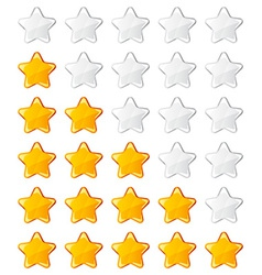 Yellow shiny rating stars vector