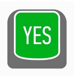 Yes green button icon simple style vector image