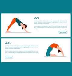 yoga colorful banner stances vector image