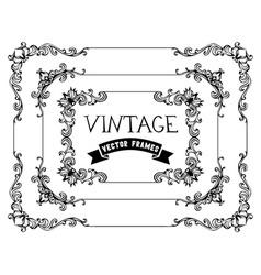 Set of hand-drawn calligraphic vintage frames vector